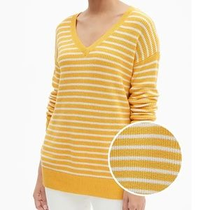 GAP Gold Yellow White Striped V Neck Tunic Sweater